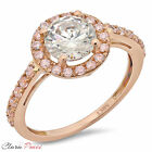 2.50 CT Sim Engagement Ring Round Cut Halo Rose  Sterling Silver Bridal band GF