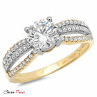 1.3CT Round Cut Sim halo Engagement Ring Bridal band Multi Sterling Silver GF