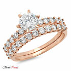 3.20 CT A+ CZ Engagement Ring Bridal band set  Round Cut Rose Sterling Silver GP