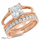 3.55 CT Princess Cut A+ CZ Promise Bridal Ring band set Rose Sterling Silver GF