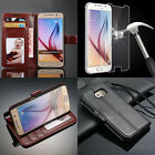 Vintage Leather Flip Case Wallet Cover + Tempered Glass For Samsung Galaxy S6
