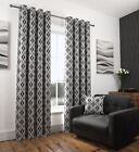 ABSTRACT BLACK LINED EYELET CURTAINS RINGTOP LUXURY JACQUARD MELBOURNE