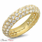 2.45 ct pave set A+ CZ Wedding Engagement Band Ring Yellow Sterling Silver GP