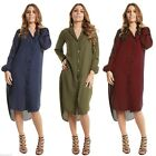 Celeb Damen Button Down V Neck Langarm Asymmetrisch Split Chiffon Maxi Hemdkleid