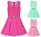 Girls Sleeveless Lace Summer Dress New Kids Pink Mint Party Dresses 3-12 Years