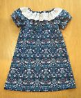 Girl's Liberty Cotton Handmade Dress, Strawberry Thief M with Pretty Collar