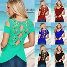 Womens Sexy Cut Out T-shirt Tops Summer Short Sleeve Lace Blouse Casual Tee Tops