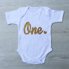 Gold Glitter 1st First Birthday Number One Heart, Baby Grow Body Suit Vest