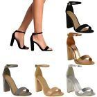 LADIES WOMENS BARELY THERE BLOCK HEEL PEEP TOE ANKLE STRAP SANDALS SHOES SIZE