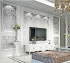10M/Roll Silver Gray & Gold Glitter Stripe Feature 3D Embossed Wallpaper Mural