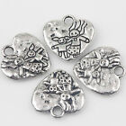 Heart-shaped 10/20Pcs Carved Tibetan Silver Charms Pendants Crafts DIY 16*15mm