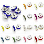 20pcs Crystal Beads Round Spacer Wavy Silver Plated DIY Jewelry 5/6/8/10/12mm