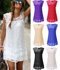 Sexy Women Summer Short Mini Casual Evening Party Sleeveless Cocktail Lace Dress