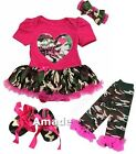 Baby Father's Day Hot Pink Camo Hero Daddy Bodysuit Tutu Leg Warmers Shoes Set