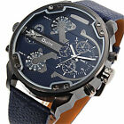 Luxury  Wrist Watch For Men's Fashion Military Army Leather Dual Time Quartz