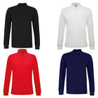 Mens Asquith & Fox Classic Fit Long Sleeved Knitted Cuff Polo Shirt Size S-5XL