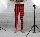 Black & Red Diamonds Womens Spandex Leggings Gym Yoga Fashion Fitness Made In Uk