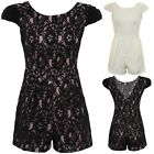 Ladies Floral Lace Cap Sleeve All In One Party Zip Back Smart Women's Playsuit