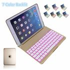 For Apple iPad Air Wireless Bluetooth Keyboard Case Cover With 7 Color Backlit