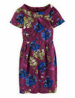Boden Women's Brand New Roll Collar Dress Beetroot Purple Floral with Silk