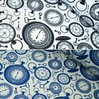 Vintage Old Stop Watch Clocks Keys 100% Cotton Poplin Fabric Patchwork