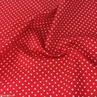BRIGHT RED POLKA DOT 100% cotton fabric  per FQ, half metre or metre