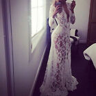 Women's Sexy Deep V Neck Lace Embroidery Formal Party Prom Bridesmaid Maxi Dress