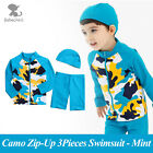 New BeBeChat Camo Mint Zip-Up 3 Pcs Swimsuit Set for Boys UV / Sun Protection