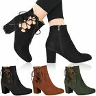 WOMENS LADIES LOW BLOCK HEEL CHELSEA ANKLE BOOTS CUT OUT LACE UP SHOES NEW SIZE