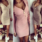 Charm Women Long Sleeve V-neck Dress Sexy Stretch Bodycon Dress Zipper Dress