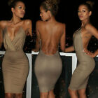 Charm Sexy Deep V-Neck Bandage Backless Party Evening Bodycon Mini Pencil Dress