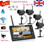 """9""""/7"""" CCTV DVR 4CH Digitl Wireless Outdoor Video Camera Home Security System Kit"""