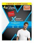 4-Pack Hanes Mens X-Temp® Comfort Cool® Dyed WHITE Crewneck T-Shirts S-XL-LotA1