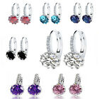 1 pair Zircon Elegant Crystal Round Hoop Earrings Silver Plated Party