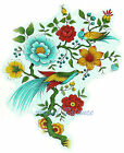 Ceramic Decals Oriental Style Bird Branch Berry Blue Red Floral image