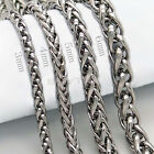 Quality 3/4/5/6MM MENS Silver Stainless Steel Wheat Braided Chain Necklace TBUS