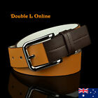 New Quality Genuine Leather Mens Business Dress Belts White/Tan