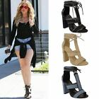 Womens Ladies Lace Up Celeb Block High Heels Ankle Strappy Sandals Shoes Size