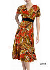 Donna Bella V Neck Wrapped Tea Sun Party Fitted Knee Length Floral Dress