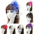 New Party Women Lady Fascinator Feather Hair Accessory Clip Pillbox Hat Veil Cap