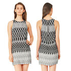 Stella Morgan Designer Womens Monochrome Chevron Print Sleeveless Tunic Dress