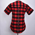 New Extended Hip Hop T-Shirt Back Zipper Swag Men Man Streetwear Tyga Red Plaid