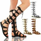 Womens Ladies Flat Knee High Strappy Gladiator Sandals Caged Lace Up Boots Size