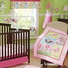 New 7 Pieces Beautiful Pink Owl theme Baby girl Crib Cot Bedding Quilt Set