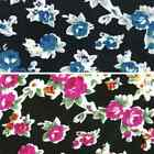 Bunched Rose Heads With White Borders 100% Viscose Print Fabric 140cm Wide