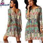 Sexy Women Short Mini Dress Ladies Retro National Wind Loose Dress Cover Up Tops