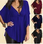 Womens Sexy V Neck Batwing Sleeve Casual Tops Blouse T-Shirt Wrap Top plus size