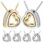 Silver Womens Heart Love Crystal Rhinestone Pendant Chain Necklace Jewelry Gift