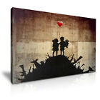Banksy Kids on Guns with Heart Balloon Canvas Wall Art