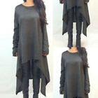 Ladies Long Sleeve Sweater Asymmetric Pullover Jumper Knitted Dress Long Tops